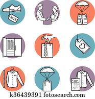 Vector icons of clothing buy, sell, delivery