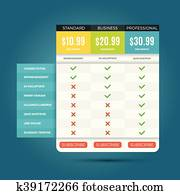 Vector pricing business plans for websites and applications