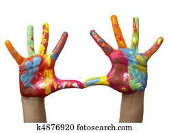 farbe, malen, kind, hand