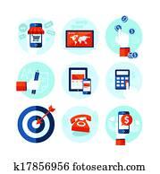 Flat design icons for e-commerce
