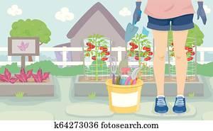 Girl Gardening Illustration
