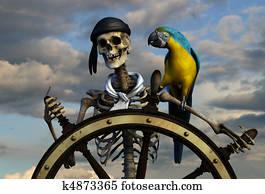 Skeleton Pirate with Sky