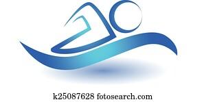 Swim sport icon logo