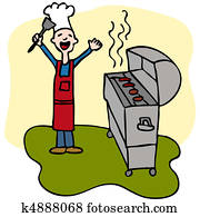 Chef Man Cooking Barbecue Grill