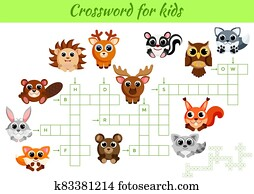 Crosswords game of animals for children with pictures. Kids activity worksheet colorful printable version. Educational game for study English words. Includes answers.