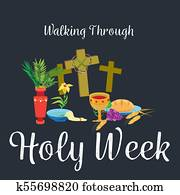 Holy week Last Supper of Jesus Christ, Thursday Maundy, established the sacrament of Holy Communion prior to his arrest and crucifixion vector illustration