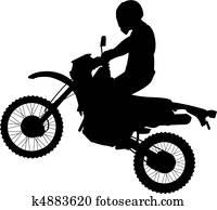 Jumping Dirtbike Silhouette