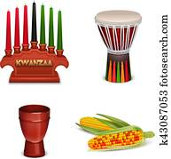 Kwanzaa Holiday 4 Colorful Symbols Collection