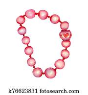 Pink hand drawn watercolor bracelet isolated on white