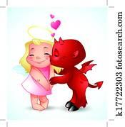 Little Demon Kisses an angel