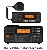 Police Car Radio Transceiver Set. Vector