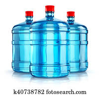 Three 19 liter or 5 gallon plastic drink water bottles