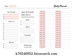 Daily planner printable template Vector. Blank white notebook page A4