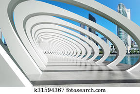 Futuristic exterior structure under arcs on river