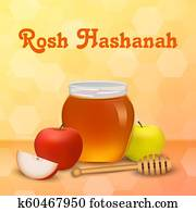 Rosh hashanah holiday concept background, realistic style