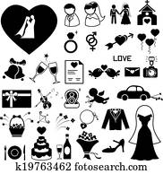 Wedding icons set illustration eps