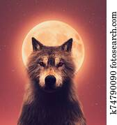 Wolf and the moon,3d illustration