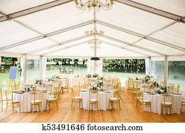 Elegant banquet hall for a wedding party