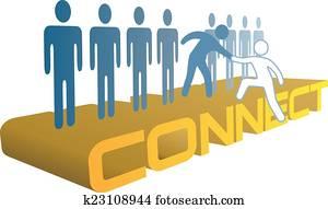 hand, hilfe, herauf, verbinden, to, zusammenfuehren, leute, gesellschaft