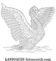 Zentangle stylized swan