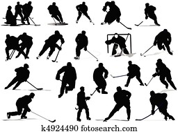 Ice hockey players. Vector illustr