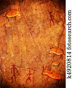 prehistoric cave paint with hunters and animals