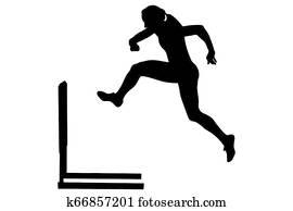 running hurdles woman runner