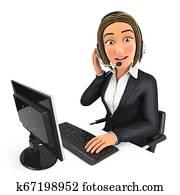 3d business woman call center
