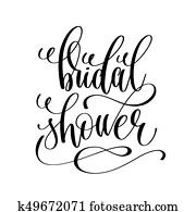 bridal shower black and white hand lettering script
