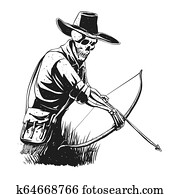 Cowboy skeleton with crossbow -