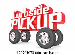 Curbside Pickup Store Delivery Order Service Car Words 3d Illustration