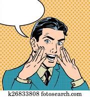 Emotional reaction men pop art comics retro style Halftone