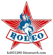 Rodeo Cowboy riding bucking bronco