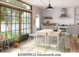 3d render - scandinavian flat - kitchen - dining room