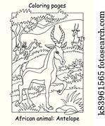 Coloring antelope vector