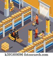 Inside Warehouse Illustration