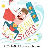 kitesurfing, karikatur, übermensch, zeichen, glücklich, springen