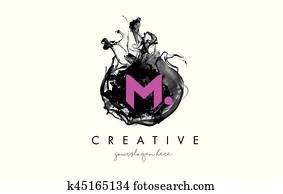 M Letter Logo Design with Ink Cloud Texture.