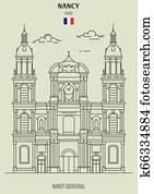 Nancy Cathedral in Nancy, France. Landmark icon