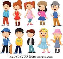 niedlich, kindern, karikatur, sammlung