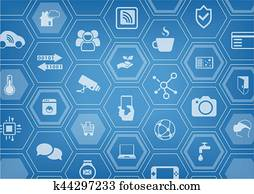 Smart home automation vector illustration background with icons