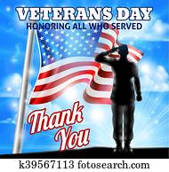 veteranentag, silhouette, soldat, salutieren, amerikaflagge