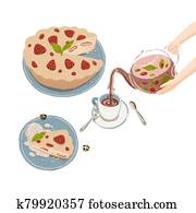 Cartoon tea party with flavor herbal berry tea in glass teapot and homemade strawberry pie. Illustration of delicious baking with fruits and tea pouring in teacup from teapot held by hands.