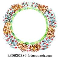 Christmas wreath. watercolor