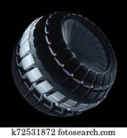 Industrial Turbine Blower Isolated On Black Background