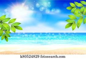 summer, sandstrand, plakat, mit, sunshine,, blau, meer, und, bew?lkt, sky., vektor