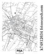 City map Pisa, travel vector poster design