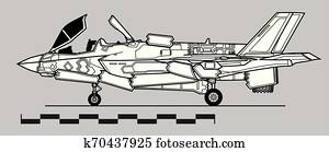 F-35B Lightning II Takeoff configuration. Outline vector drawing
