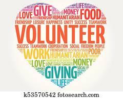 Volunteer heart word cloud collage