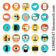 Marketing and design services flat icons set